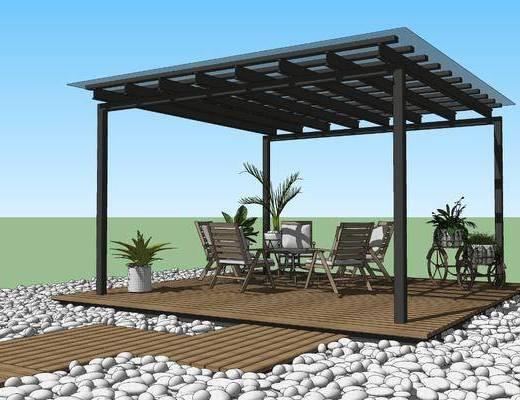 现代庭院景观, 廊架亭子, 餐桌椅, 鹅卵石