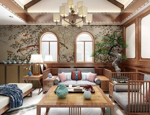 客厅, 多人沙发, 茶几, 单人沙发, 边几, 台灯, 盆栽, 绿植, 边柜, 躺椅, 吊灯, 装饰品, 陈设品, 新中式