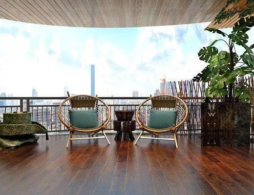 阳台, 单椅, 景观小品, 边几