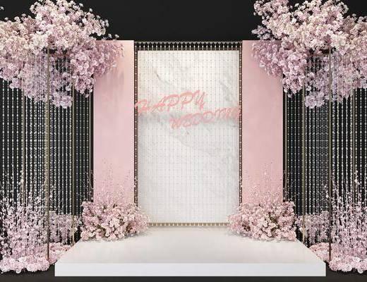 现代背景墙, 婚礼背景墙, 婚礼合影区, 背景墙, 合影区