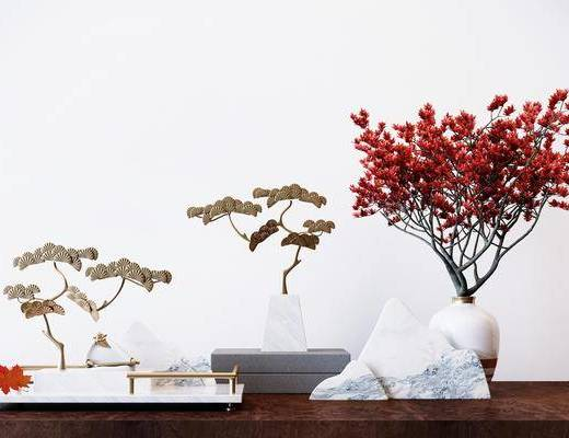 装饰摆件, 摆件组合, 花瓶花卉, 新中式