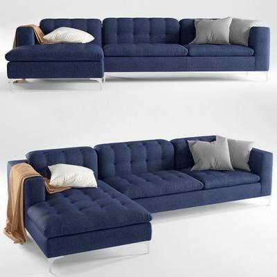 转角沙发, 多人沙发, 布艺沙发, 现代