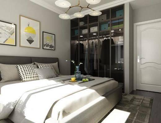 现代卧室, 卧室, 床, 衣柜, 吊灯, 装饰画