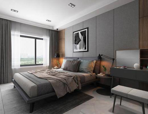 卧室, 双人床, 床头柜, 台灯, 凳子, 书柜, 装饰画, 挂画, 摆件, 装饰品, 陈设品, 现代简约