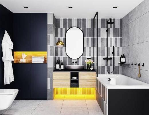 卫浴, 洗手盆, 马桶, 壁镜, 浴缸