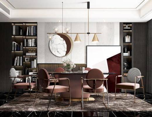 餐桌, 餐椅, 吊灯, 挂件, 书柜, 餐具, 装饰品