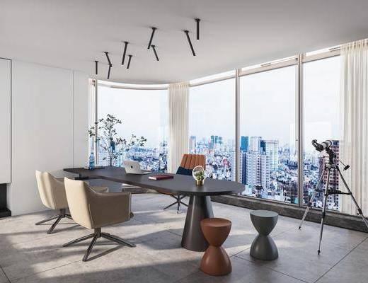 书房, 书桌, 桌椅组合, 摆件, 植物