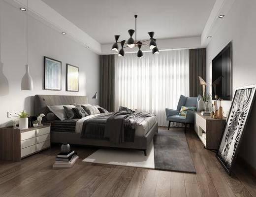 卧室, 床头柜, 现代卧室, 床, 吊灯, 装饰画, 椅子