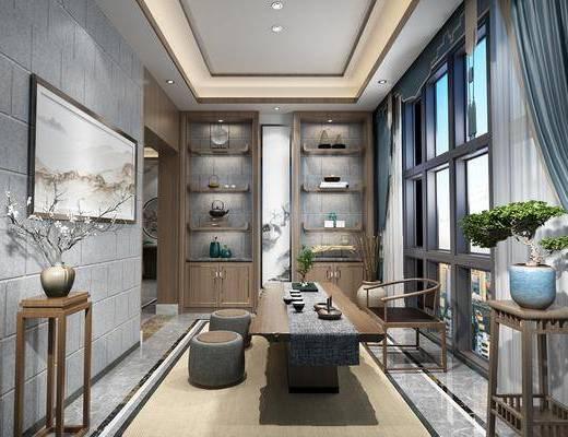 茶室, 茶桌, 凳子, 装饰架, 装饰画, 单人椅, 盆栽, 绿植植物, 装饰柜, 茶具, 摆件, 装饰品, 陈设品, 新中式