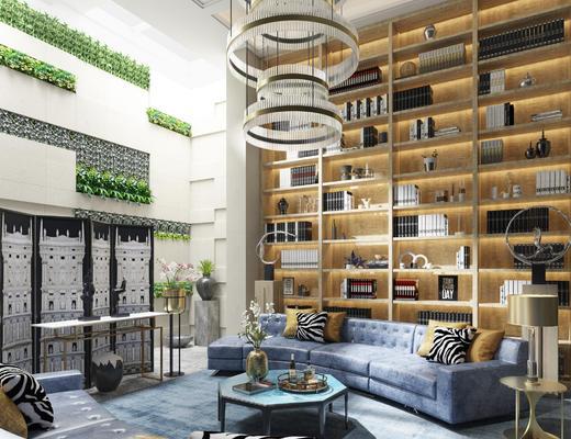 现代, 洽谈区, 沙发, 开放柜, 屏风
