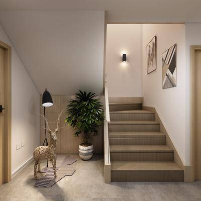楼梯间, 挂画组合, 盆栽, 绿植植物, 北欧