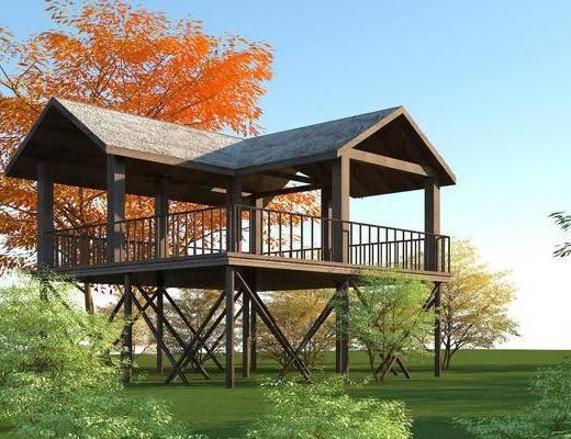 木结构观景台, 茅草屋顶凉亭, 园林景观小品, 木屋