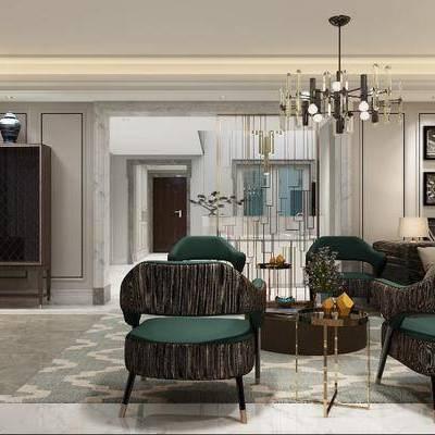 多人沙发, 单人沙发, 茶几, 边柜, 电视柜, 墙饰, 吊灯, 现代