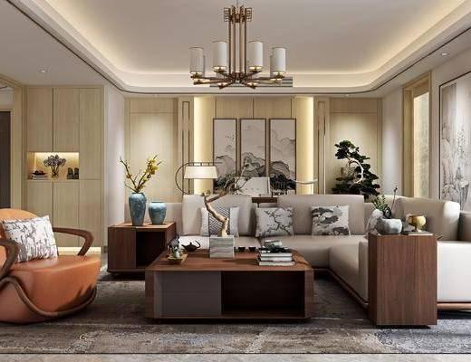 客厅, 多人沙发, 转角沙发, 单人沙发, 茶几, 摆件, 装饰品, 陈设品, 吊灯, 装饰画, 挂画, 盆栽, 植物, 边几, 边柜, 装饰柜, 新中式