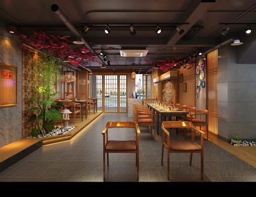 餐厅, 料理, 餐桌, 餐椅, 单人椅, 人物画, 干树枝, 前台, 吊灯, 花瓶花卉, 日式