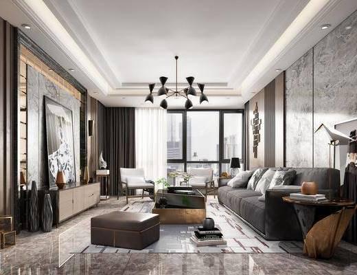 现代客厅, 后现代客厅, 现代沙发, 沙发组合, 沙发茶几组合