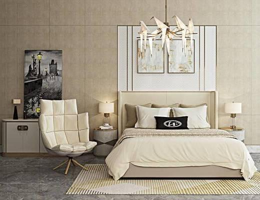 千纸鹤吊灯, 现代, 双人床, 休闲椅, 边柜, 挂画, 卧室