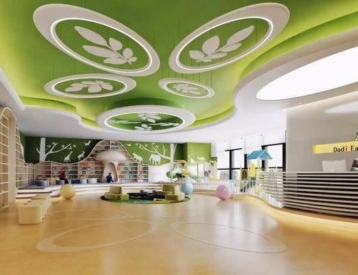 现代幼儿园, 大厅, 书架, 前台, 桌椅组合, 现代吊灯