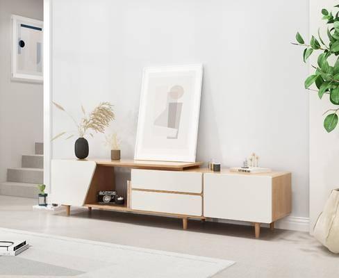 实木电视柜, 边柜组合, 盆栽, 绿植植物, 摆件组合, 北欧