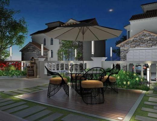 现代花园, 现代庭院, 桌椅组合