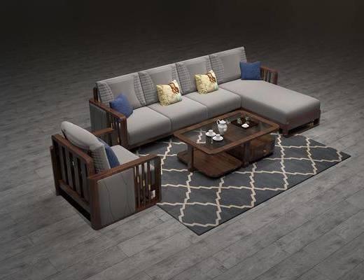 沙发组合, 多人沙发, 茶几, 单人沙发, 转角沙发, 摆件, 装饰品, 陈设品, 新中式