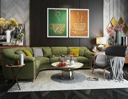 美式简约, 沙发茶几组合, 陈设品组合, 挂画, 美式