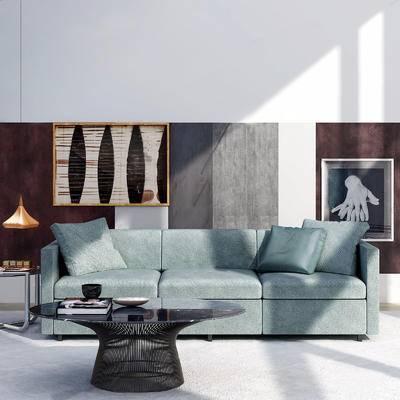 沙发组合, 多人沙发, 茶几, 摆件组合, 吊灯, 装饰画