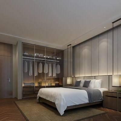 新中式, 卧室, 衣柜, 服饰, 双人床, 床头柜, 地毯, 门