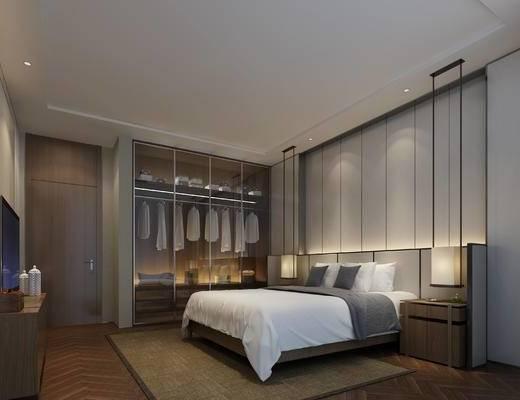 新中式, 卧室, 衣柜, 服饰, 双人床, 床头柜