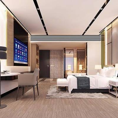 卧室, 单椅, 椅子, 床, 床头柜, 床尾凳, 落地灯, 台灯