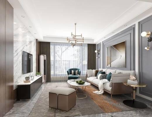 背景墙, 沙发组合, 金属吊灯, 空调, 茶几, 壁灯, 电视柜