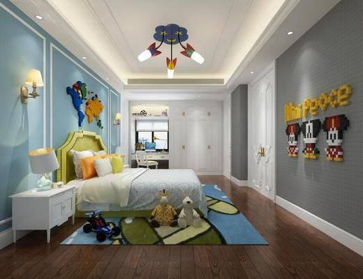 儿童房, 卧室, 双人床, 床头柜, 台灯, 壁灯, 吊灯, 墙饰, 玩具, 玩偶, 书桌, 单人椅, 衣柜, 现代
