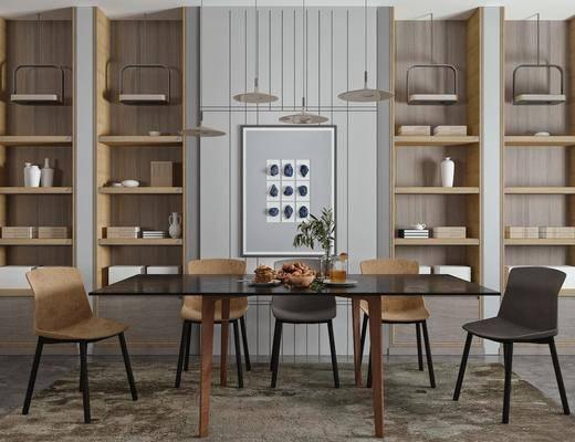 桌花餐具, 餐厅吊灯, 餐椅, 摆件装饰品, 地毯餐桌