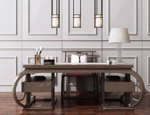 辦公桌椅, 寫字桌, 洽談桌, 新中式吊燈