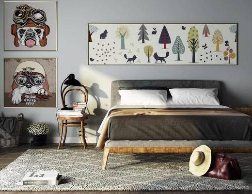 床具, 椅子, 装饰画, 陈设品, 摆件