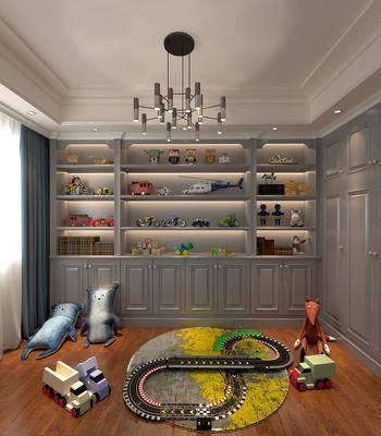 简欧儿童玩具房, 玩具, 现代吊灯, 欧式柜, 置物柜