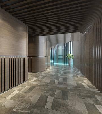 工艺品走廊, 木质造型走廊, 电梯间