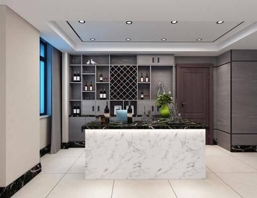 酒柜, 吧台, 装饰柜, 酒瓶, 花卉, 现代