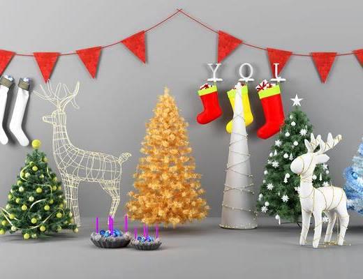 简欧, 圣诞节, 装饰, 摆件, 单体