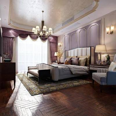 多人沙发, 床尾凳, 单人沙发, 边几, 台灯, 边柜, 电视柜, 壁灯, 吊灯, 美式