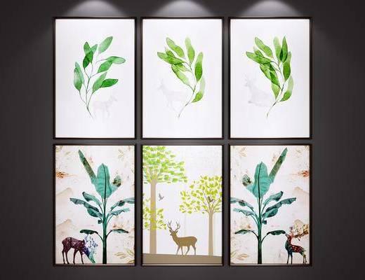 挂画, 麋鹿装饰画, 艺术画
