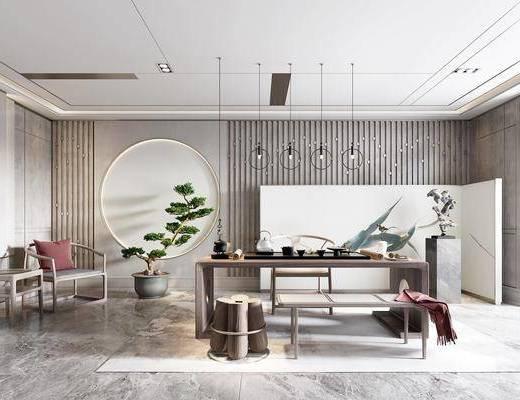 新中式, 茶具, 休闲桌, 吊灯, 盆栽