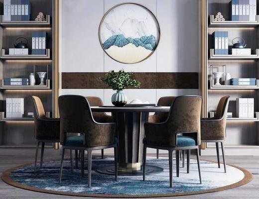 桌椅组合, 餐桌, 餐椅, 单人椅, 书柜, 装饰柜, 装饰品, 陈设品, 墙饰, 新中式