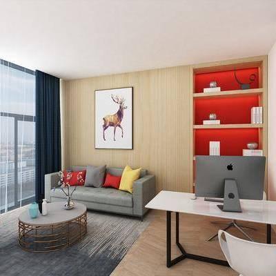 办公室, 办公桌, 桌椅, 多人沙发, 装饰画, 休闲椅, 茶几, 电脑
