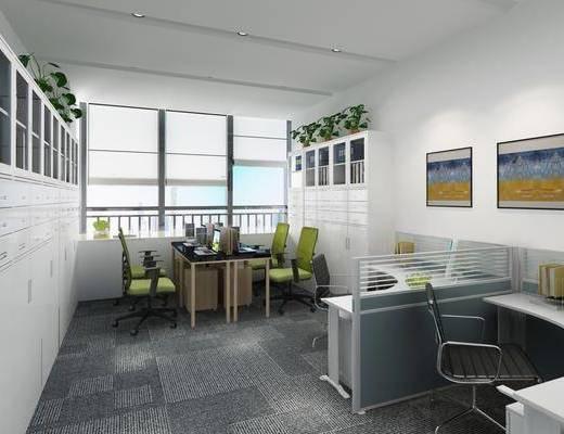 办公室, 现代办公室, 办公桌, 办公椅, 单椅, 摆件, 文件柜, 现代