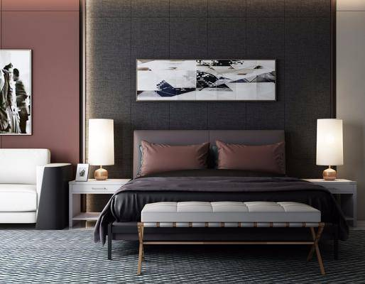 双人床, 床头柜, 床尾凳, 台灯, 装饰画, 挂画, 单人沙发, 现代, 双十一