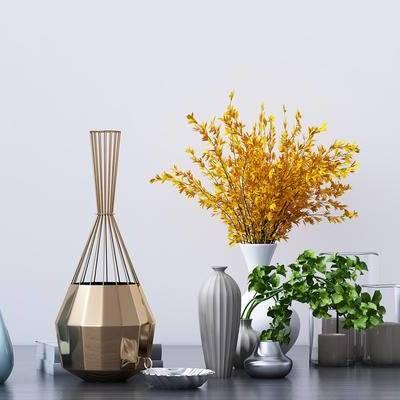摆件组合, 摆件, 现代摆件, 现代, 花瓶, 植物