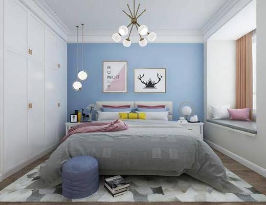 北欧卧室, 现代卧室, 卧室