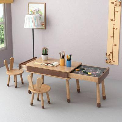 书桌, 桌椅组合, 落地灯