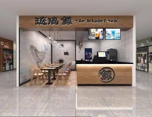 奶茶店, 北欧奶茶店, 桌椅组合, 前台